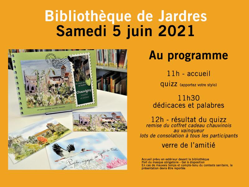 Dédicace bibliothèque de Jardres 5 juin